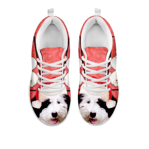 Old English Sheepdog With Santa Cap Running Shoes For Women- Free Shipping-For 24 Hours Only