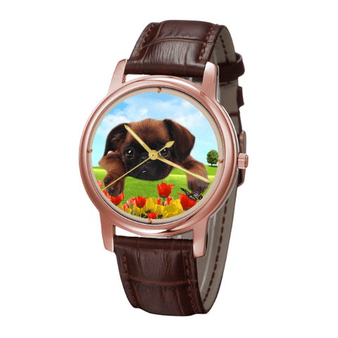 Brussels Griffon Unisex Rose Gold Wrist Watch - Free Shipping-Paww-Printz-Merchandise