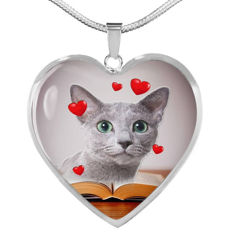 Russian Blue Print Heart Pendant Luxury Necklace-Free Shipping