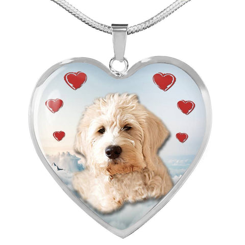 Goldendoodle Print Heart Pendant Luxury Necklace-Free Shipping