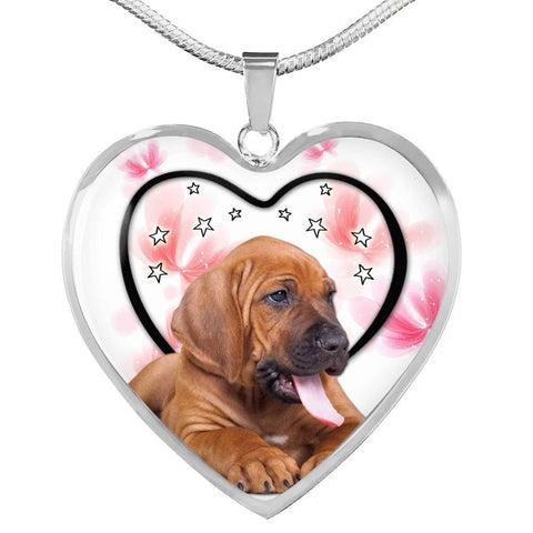 Lovely Bloodhound Print Heart Pendant Luxury Necklace-Free Shipping