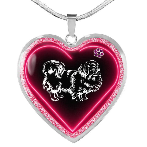 Pekingese Dog Print Heart Charm Necklaces-Free Shipping