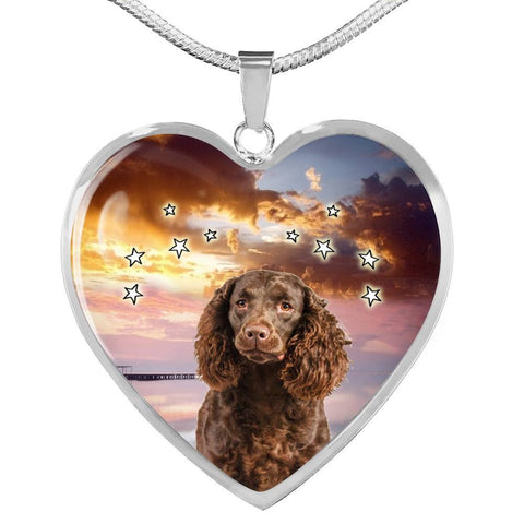 American Water Spaniel Print Heart Pendant Luxury Necklace-Free Shipping