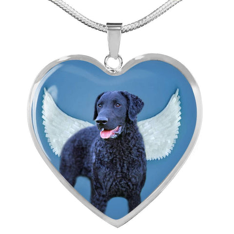 Amazing Curly Coated Retriever Print Heart Pendant Luxury Necklace-Free Shipping