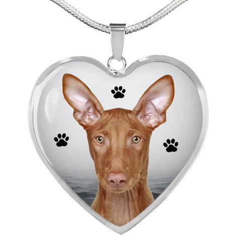 Cute Pharaoh Hound Print Heart Pendant Luxury Necklace-Free Shipping