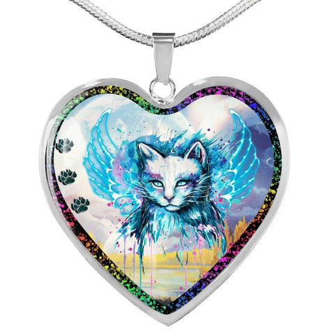 Cat Watercolor Art Print Heart Charm Necklaces-Free Shipping