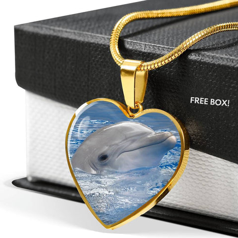 Cute Dolphin Print Heart Pendant Luxury Necklace-Free Shipping