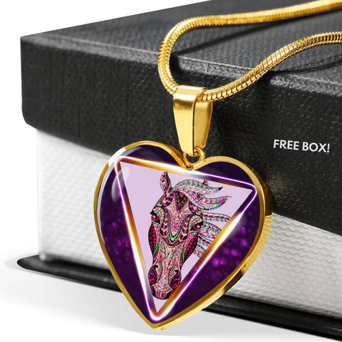 Horse Designer Art Print Heart Charm Necklaces-Free Shipping