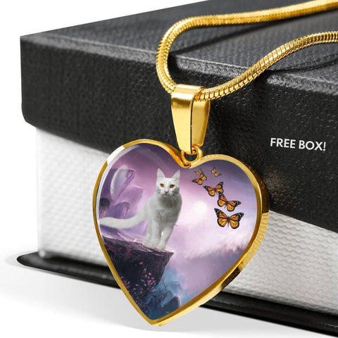 Turkish Angora Cat Print Heart Pendant Luxury Necklace-Free Shipping