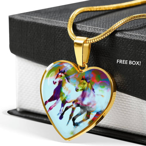 American Quarter Horse Print Heart Pendant Luxury Necklace-Free Shipping