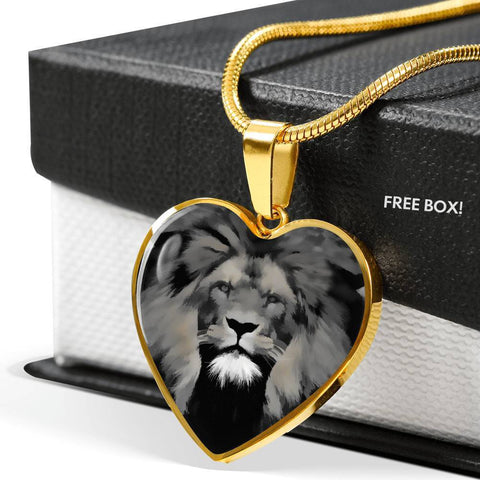 Lion Grey Art Print Heart Charm Necklaces-Free Shipping
