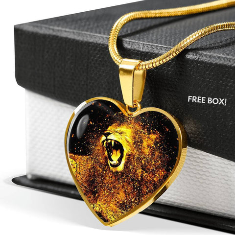 Roaring Lion Art Print Heart Charm Necklaces-Free Shipping