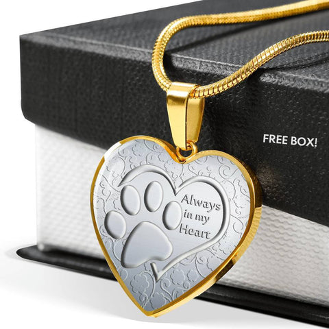 Paws Art Print Heart Pendant Luxury Necklace-Free Shipping