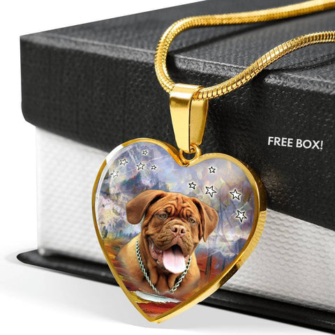 Dogue De Bordeaux Print Heart Pendant Luxury Necklace-Free Shipping