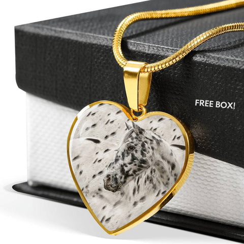Appaloosa Horse Print Heart Pendant Luxury Necklace-Free Shipping
