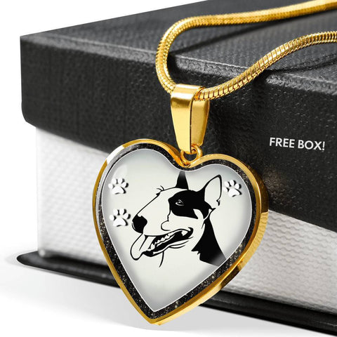 Bull Terrier Dog Art Print Heart Charm Necklaces-Free Shipping