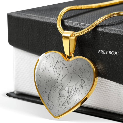 Thoroughbred Horse Print Heart Pendant Luxury Necklace-Free Shipping