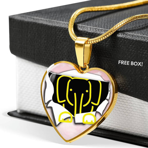Cute Baby Elephant Art Print Heart Charm Necklaces-Free Shipping