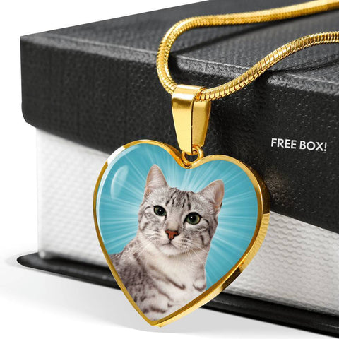 Egyptian Mau Cat Print Heart Pendant Luxury Necklace-Free Shipping