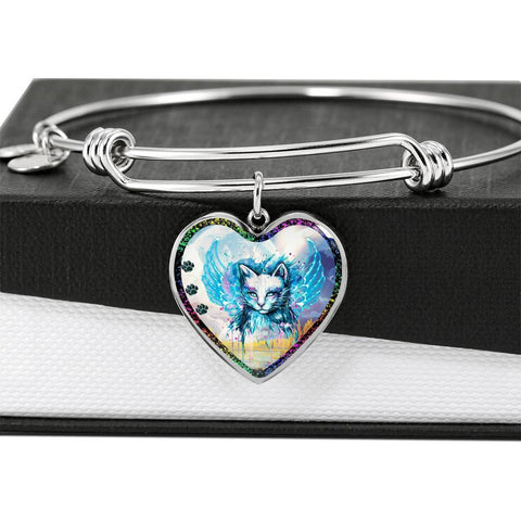 Cat Watercolor Art Print Heart Pendant Bangle-Free Shipping