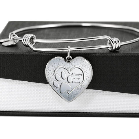Paws Art Print Heart Pendant Luxury Bangle-Free Shipping