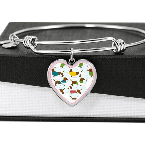 Dachshund Dog Art Print Heart Pendant Bangle-Free Shipping