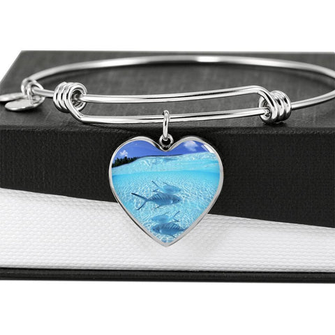 Fish Print Luxury Heart Charm Bangle-Free Shipping