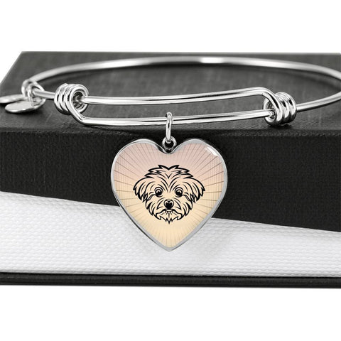 Maltese Dog Vector Art Print Heart Pendant Bangle-Free Shipping