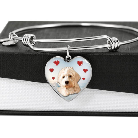 Goldendoodle Print Luxury Heart Charm Bangle-Free Shipping