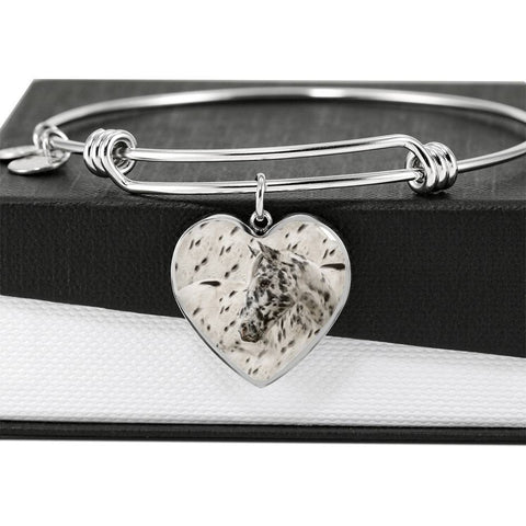 Appaloosa Horse Print Heart Pendant Luxury Bangle-Free Shipping