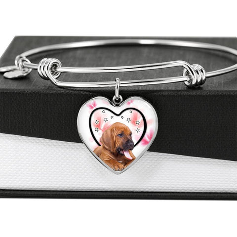 Bloodhound Dog Print Luxury Heart Charm Bangle-Free Shipping