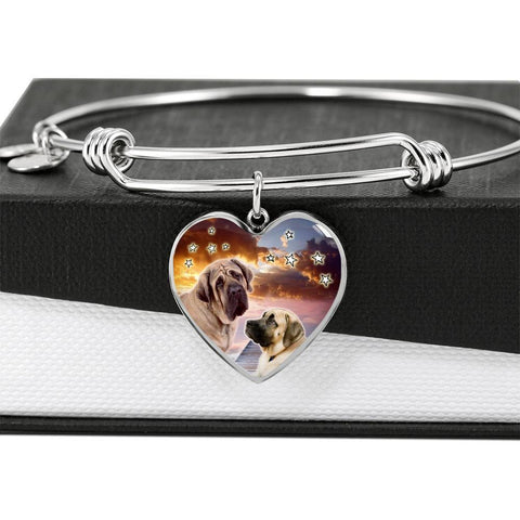 English Mastiff Print Luxury Heart Charm Bangle-Free Shipping