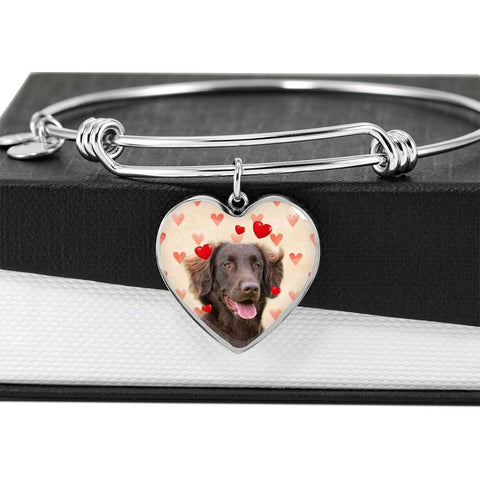 Flat Coated Retriever Print Luxury Heart Charm Bangle-Free Shipping