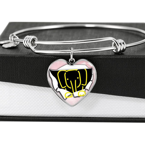 Cute Baby Elephant Print Heart Pendant Bangle-Free Shipping