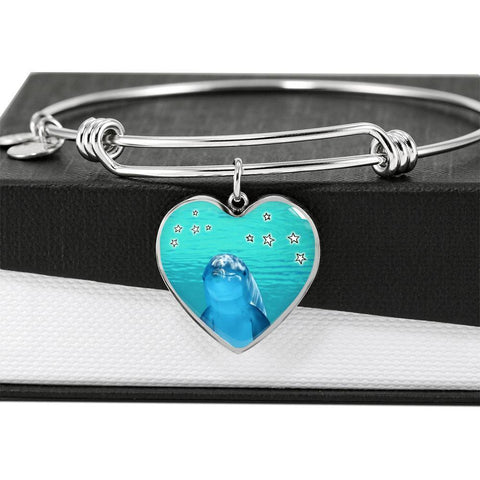 Dolphin Fish Print Luxury Heart Charm Bangle-Free Shipping