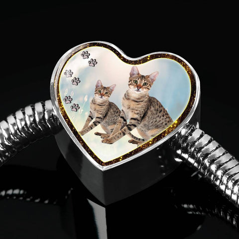 Savannah Cat Print Heart Charm Steel Bracelet-Free Shipping