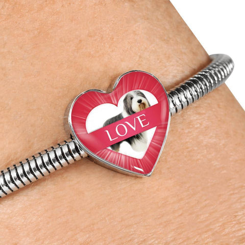 Bearded Collie Dog Print Heart Charm Steel Bracelet-Free Shipping