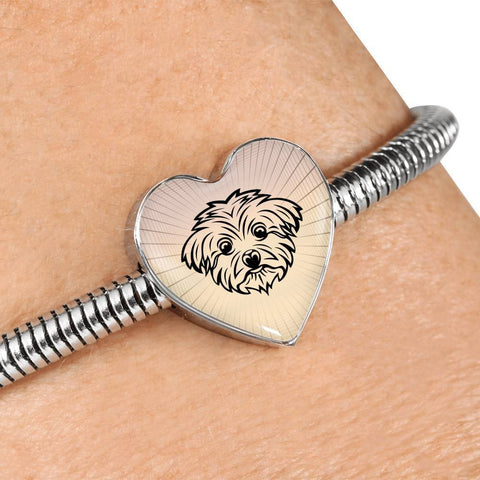 Maltese Dog Vector Art Print Heart Charm Steel Bracelet-Free Shipping