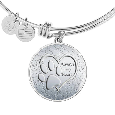 Paws Art Print Circle Pendant Luxury Bangle-Free Shipping