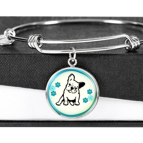 Cute French Bulldog Circle Pendent Luxury Bangle-Free Shipping
