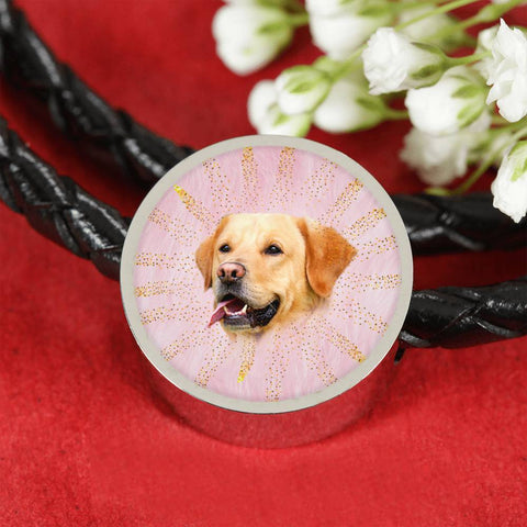 Labrador Retriever Dog Print Circle Charm Leather Woven Bracelet-Free Shipping
