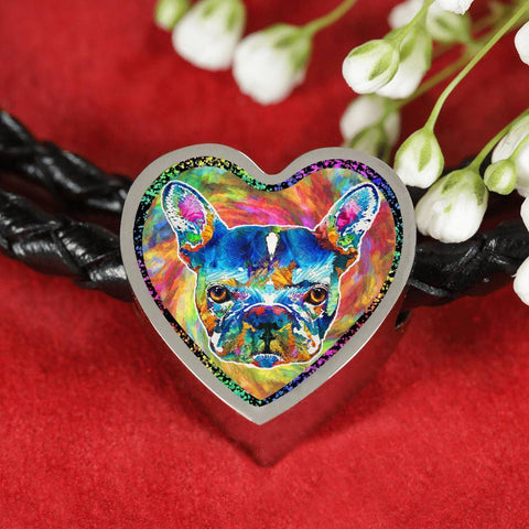 Colorful French Bulldog Heart Charm Leather Woven Bracelet-Free Shipping