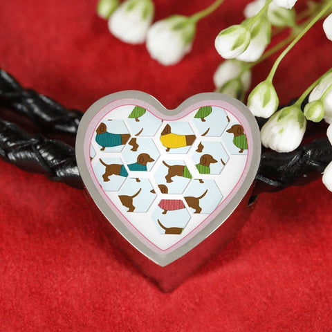 Dachshund Dog Art Print Heart Charm Leather Woven Bracelet-Free Shipping