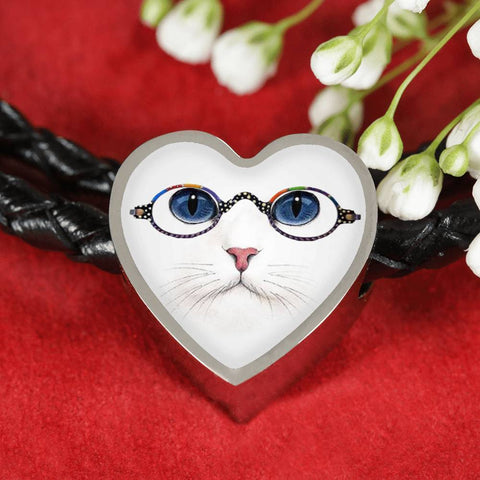 Cute Cat With Glasses Print Heart Charm Leather Bracelet-Free Shipping