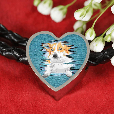 Pembroke Welsh Corgi Dog Art Print Heart Charm Leather Woven Bracelet-Free Shipping