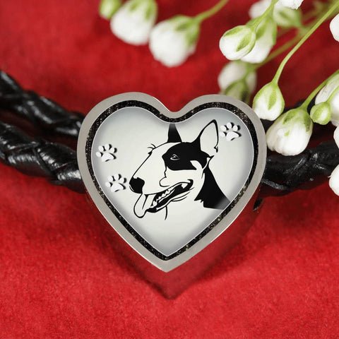 Bull Terrier Dog Print Heart Charm Leather Woven Bracelet-Free Shipping
