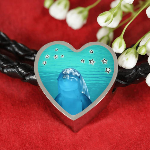 Cute Dolphin Fish Print Heart Charm Braided Bracelet-Free Shipping