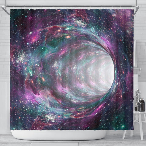 Space Warmhole Print Shower Curtains-Free Shipping