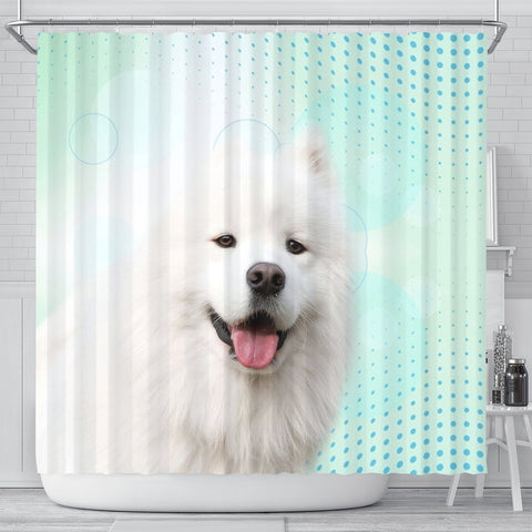 Lovely Samoyed dog Print Shower Curtain-Free Shipping