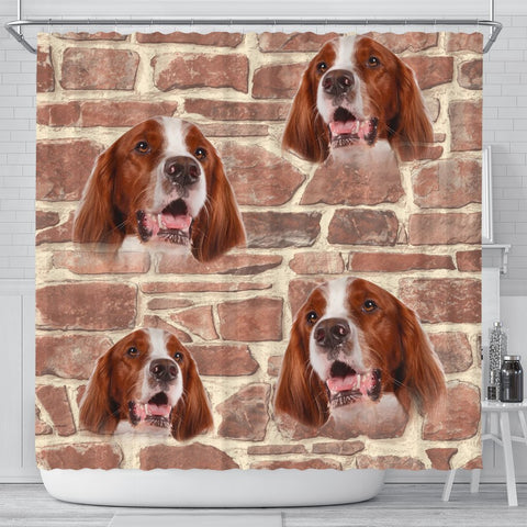 Irish Red And White Setter Print Shower Curtain-Free Shiping